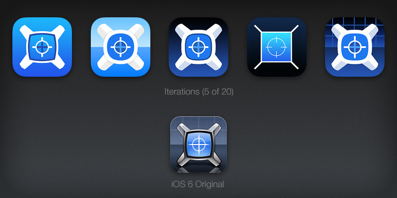 iOS 7 app icon design iterations for xScope Mirror