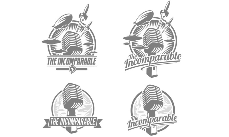 "Vector concept sketches of logo design for ""The Incomparable"""