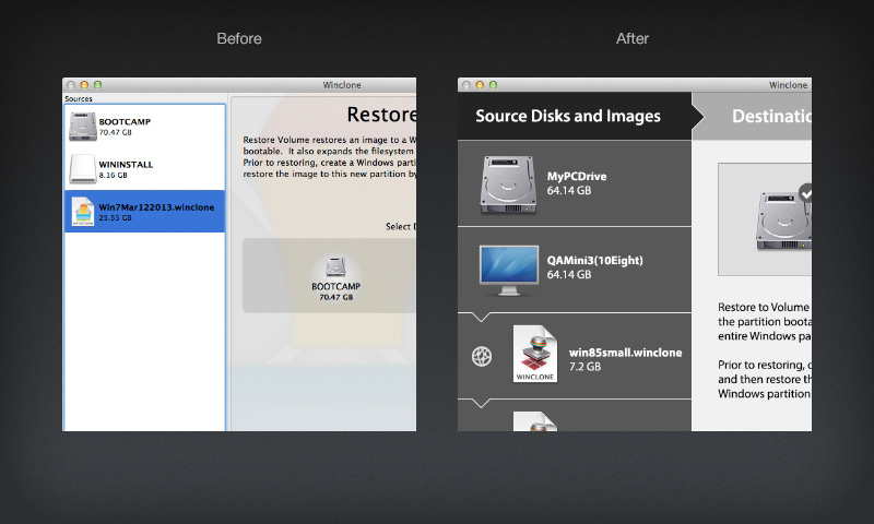 Before and after views of the Winclone user interface design