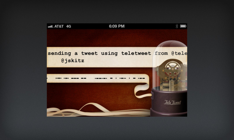 TeleTweet screen showing old time ticker tape