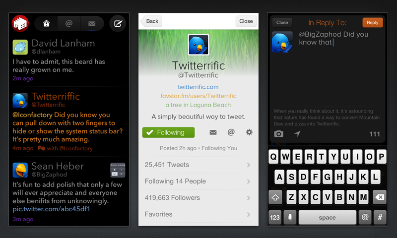 Three screens from the Twitterrific app for iOS