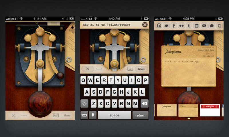 Teletweet UI design showing three different screens
