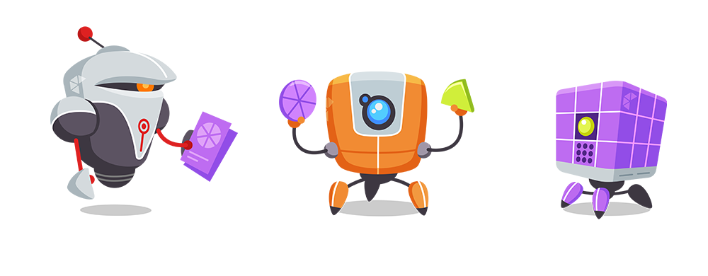 Frenzic Overtime primary characters - BossBot, DoBot and InfoBot