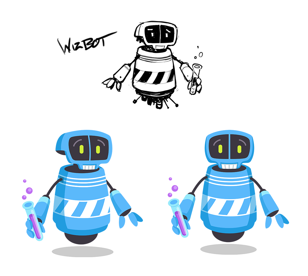 Concept sketches and final rendered art for character WhizBot